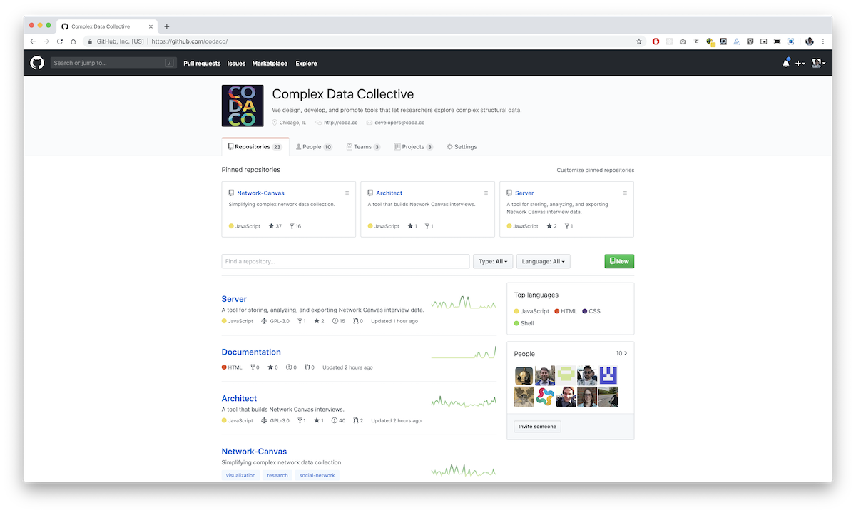 The Complex Data Collective GitHub page, where our sourcecode is available