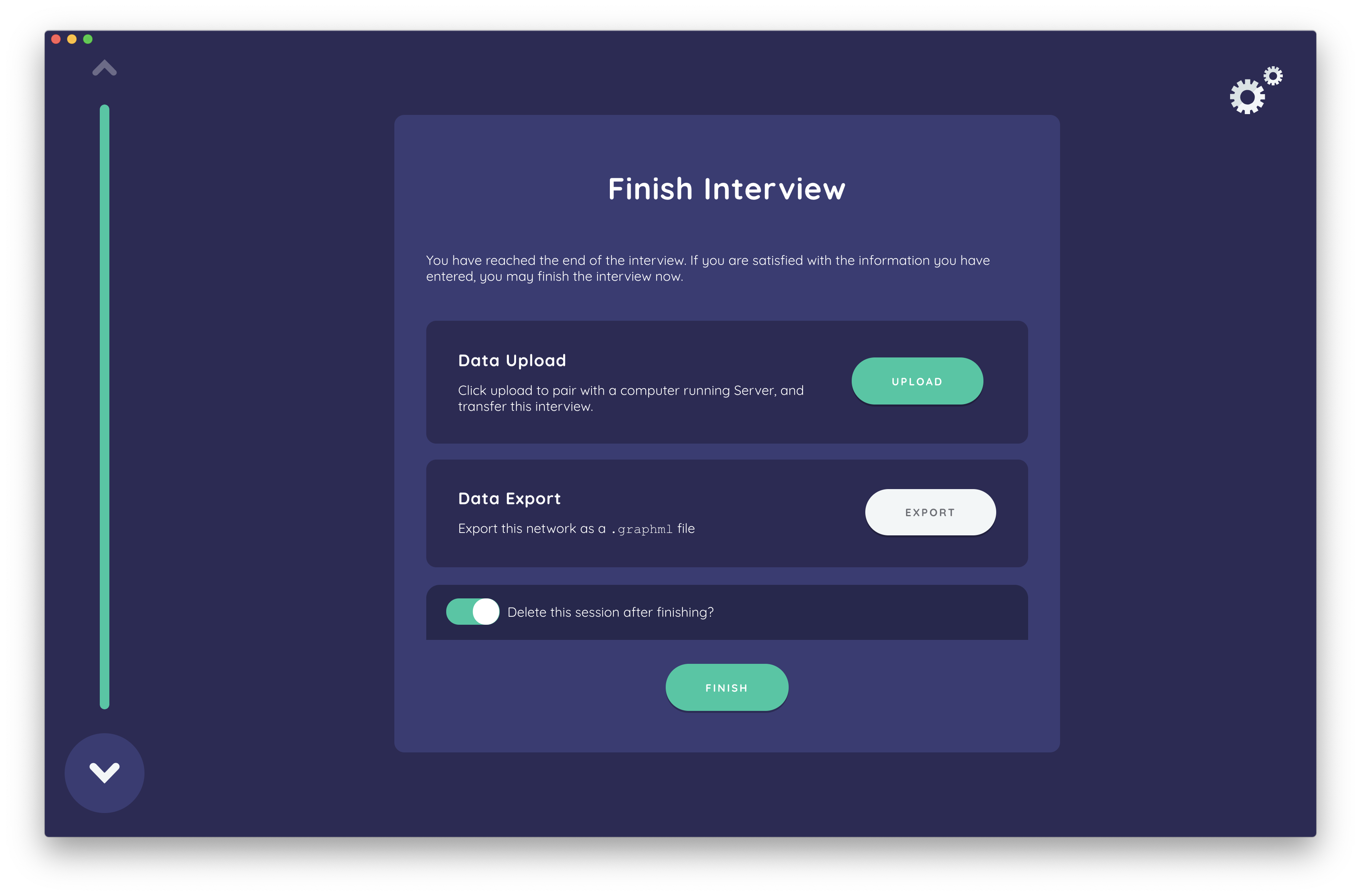 The finish interview screen