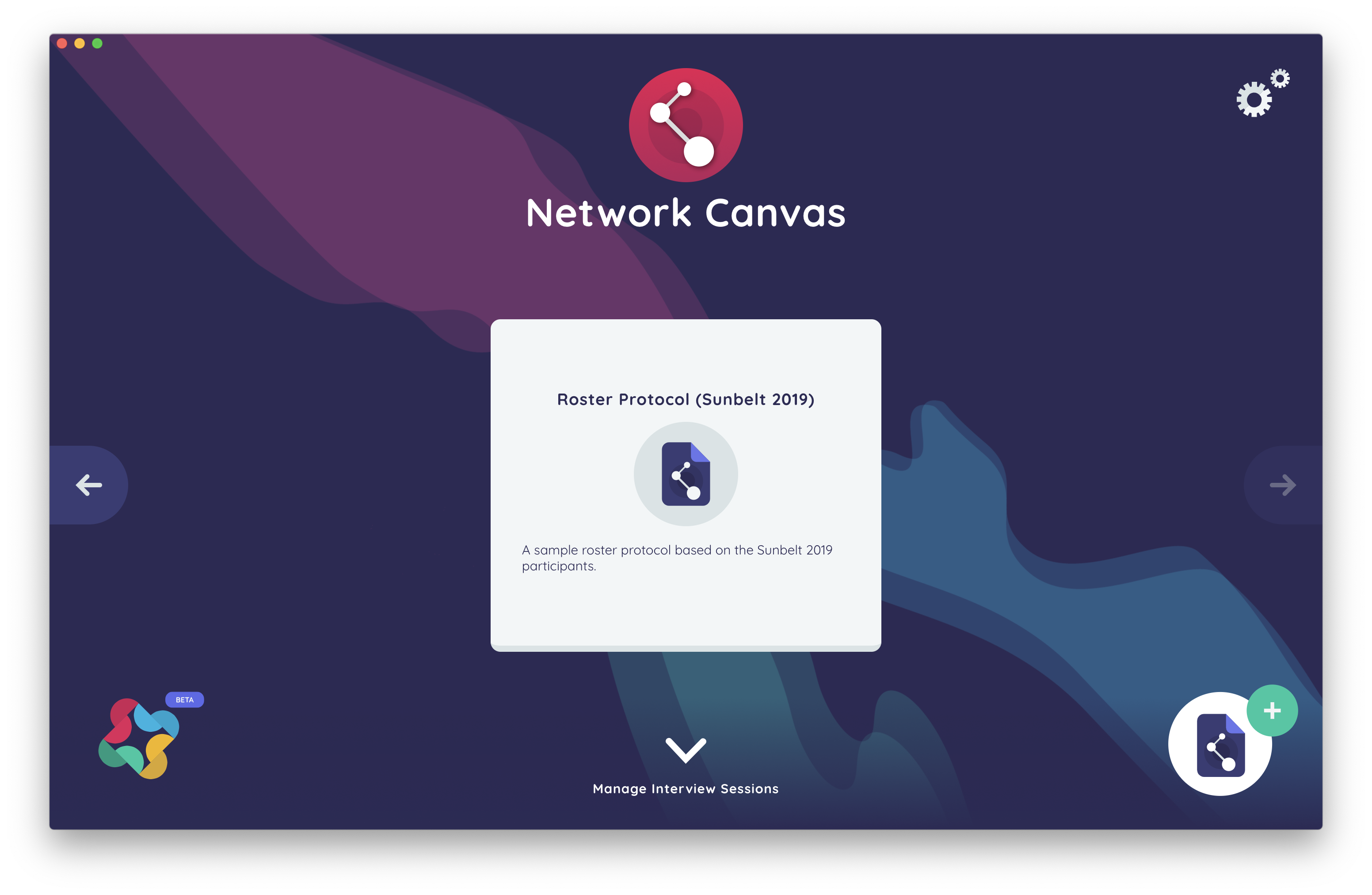 The Network Canvas Start Screen