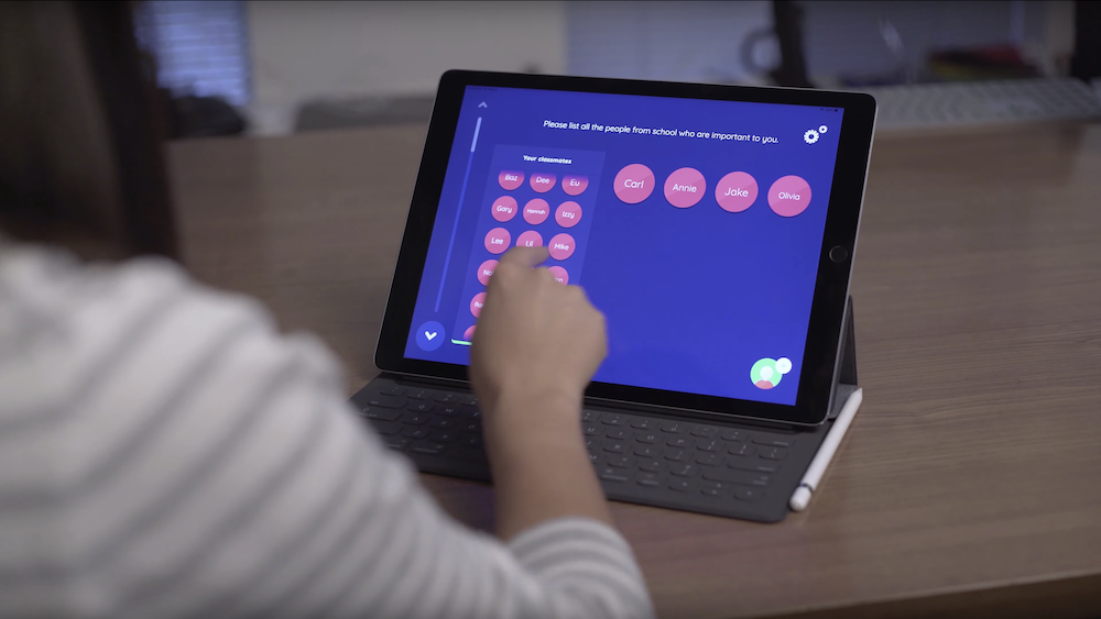 A Network Canvas interview running on an iPad pro