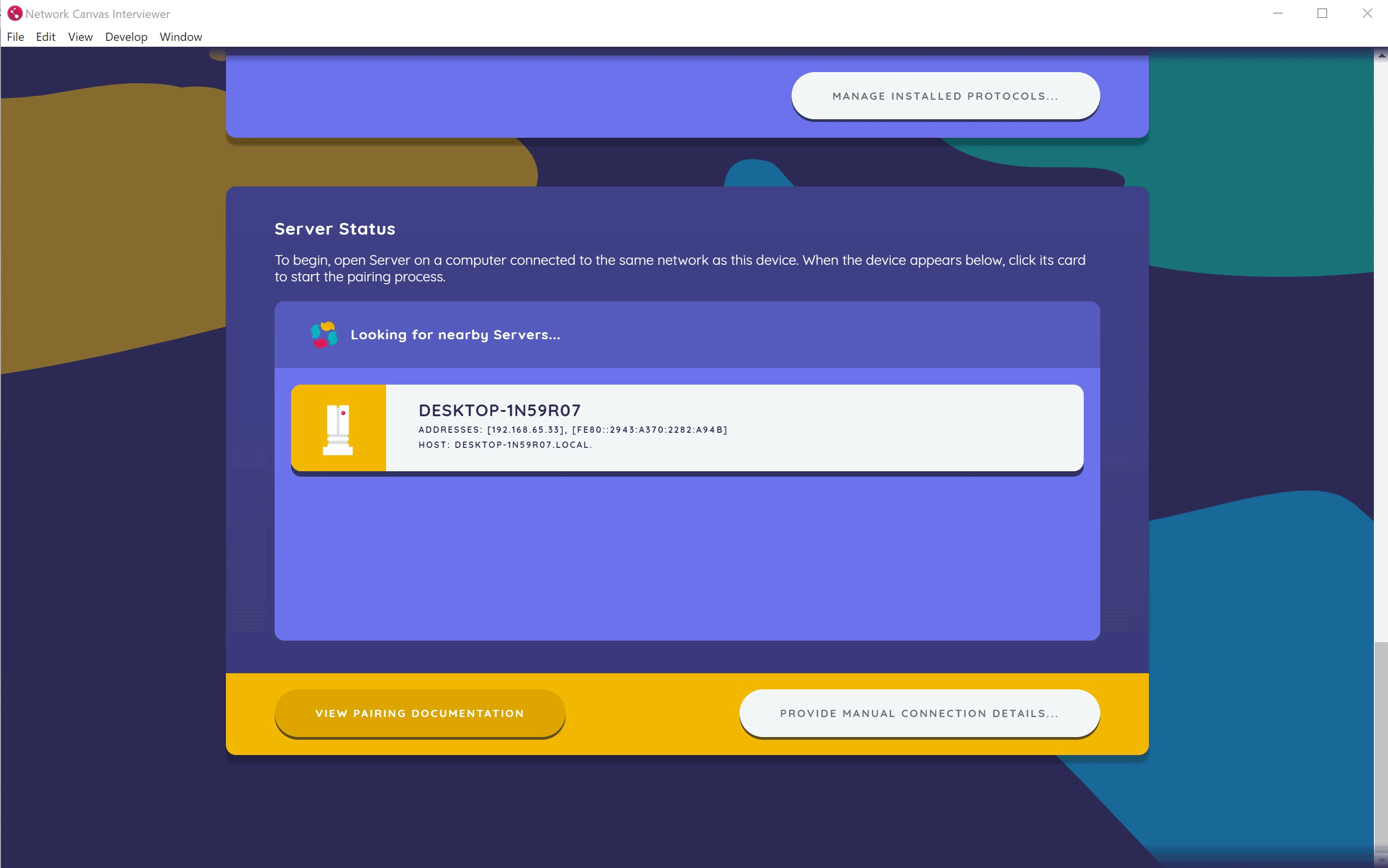 The automatic server discovery dialog