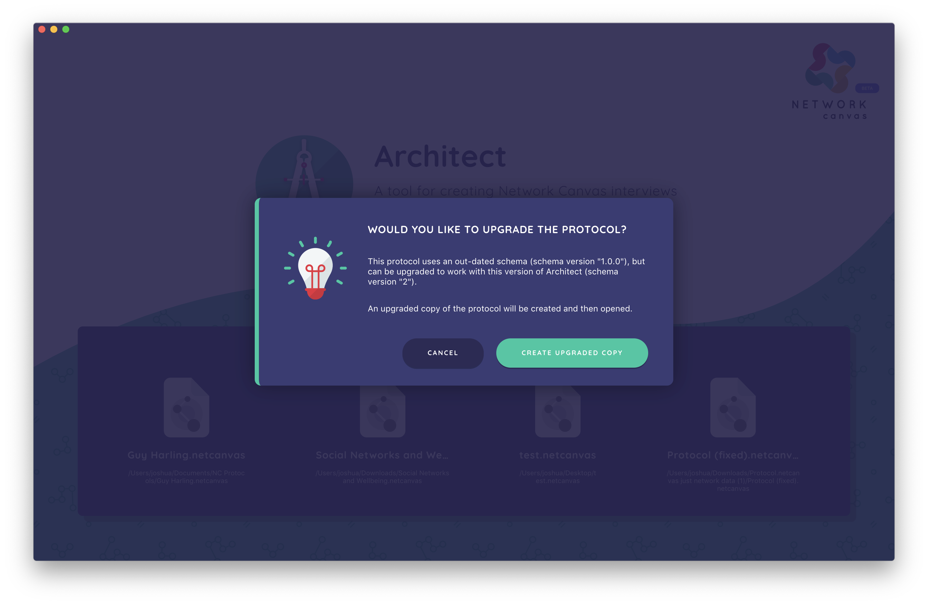 Architect may ask you to migrate a protocol before it can be opened.
